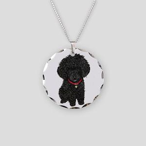 Poodle pup (blk) Necklace Circle Charm