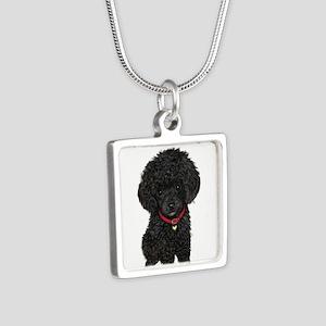 Poodle pup (blk) Silver Square Necklace