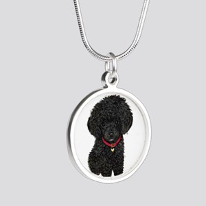 Poodle pup (blk) Silver Round Necklace