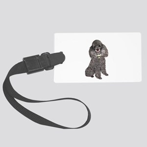 Poodle (Min-Slvr) Large Luggage Tag