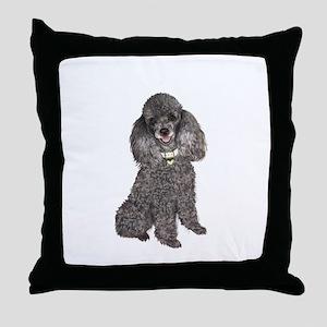 Poodle (Min-Slvr) Throw Pillow