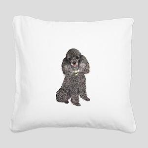 Poodle (Min-Slvr) Square Canvas Pillow