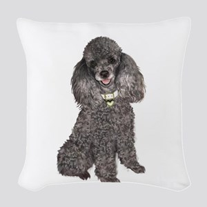 Poodle (Min-Slvr) Woven Throw Pillow