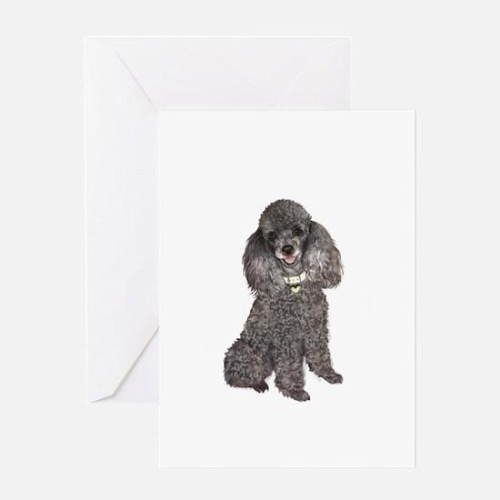 Poodle (Min-Slvr) Greeting Card