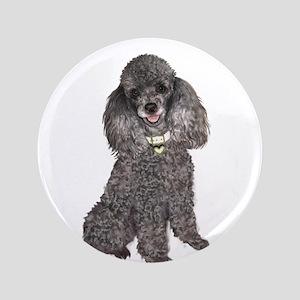 """Poodle (Min-Slvr) 3.5"""" Button"""