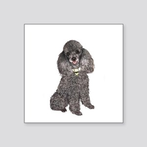 "Poodle (Min-Slvr) Square Sticker 3"" x 3"""