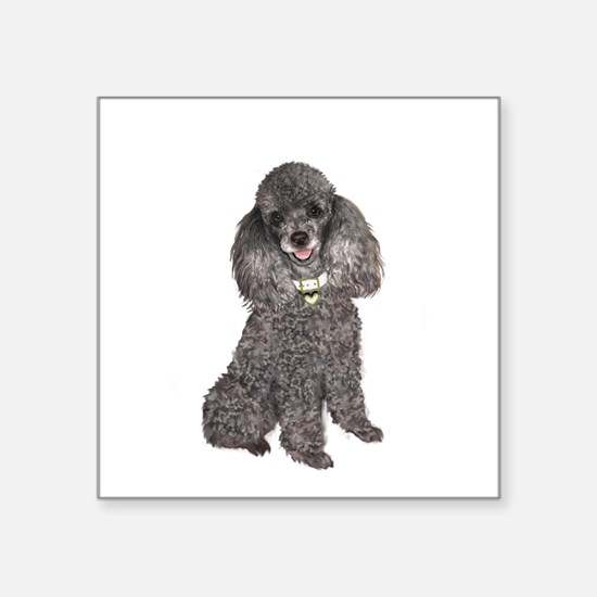 "Poodle (Min-Slvr) Square Sticker 3"" x 3"""