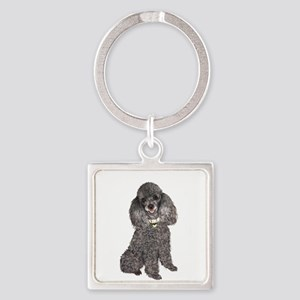 Poodle (Min-Slvr) Square Keychain