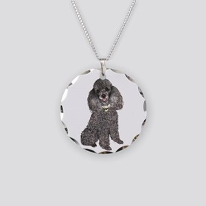 Poodle (Min-Slvr) Necklace Circle Charm