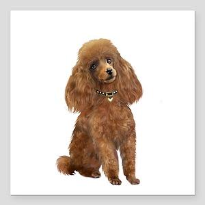 """Poodle (toy-Min Apric.) Square Car Magnet 3"""" x 3"""""""
