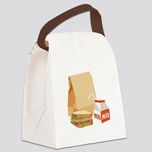 Paper Bag Milk Sandwich Canvas Lunch Bag
