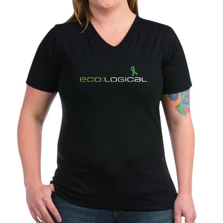 Ecological Women's V-Neck Dark T-Shirt