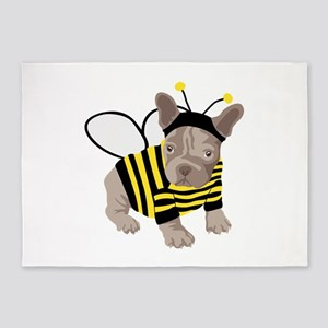 Halloween French Bulldog Bumble Bee 5'x7'Area Rug