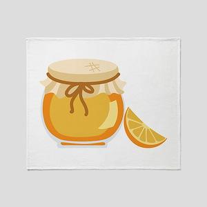 Orange Marmalade Jelly Jar Throw Blanket
