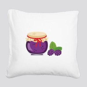 Blackberry Jam Jar Square Canvas Pillow