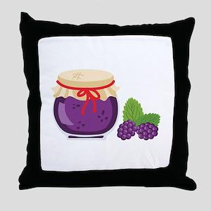 Blackberry Jam Jar Throw Pillow