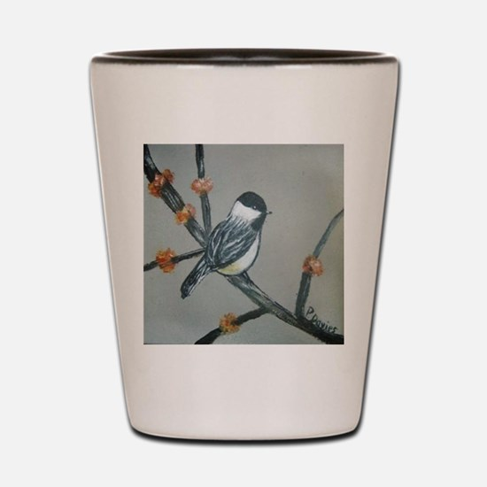 Chickadee and Blossoms Shot Glass