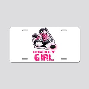 hockey girl Aluminum License Plate