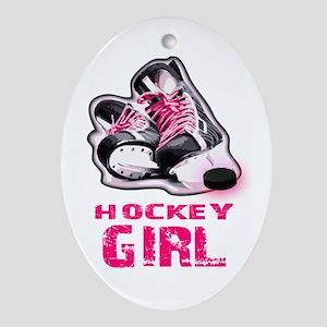 hockey girl Ornament (Oval)