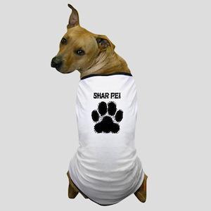 Shar Pei Distressed Paw Print Dog T-Shirt