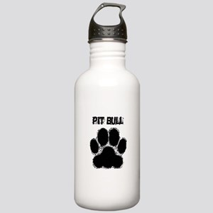 Pit Bull Distressed Paw Print Water Bottle