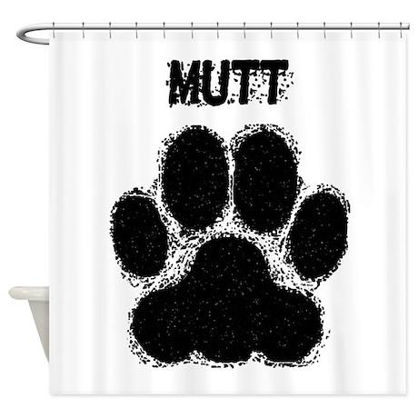 Mutt Distressed Paw Print Shower Curtain By DistressedDogGifts