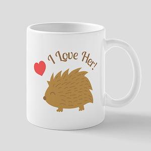 Cute Male Hedgehog in Love, I love Her Mugs