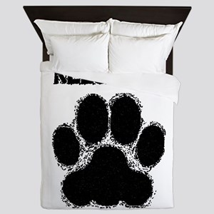 Keeshond Distressed Paw Print Queen Duvet