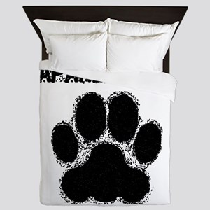 Japanese Chin Distressed Paw Print Queen Duvet