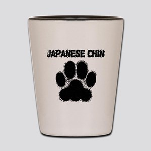 Japanese Chin Distressed Paw Print Shot Glass