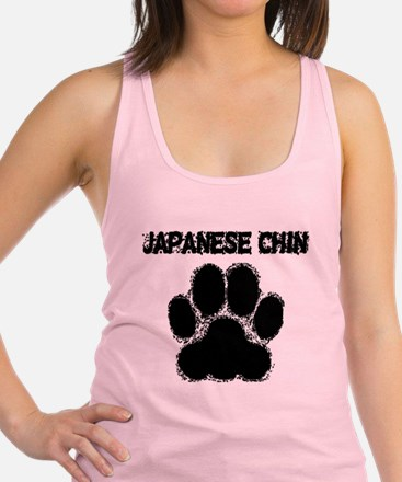 Japanese Chin Distressed Paw Print Racerback Tank