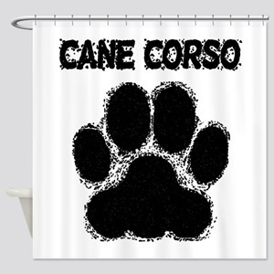 Cane Corso Distressed Paw Print Shower Curtain