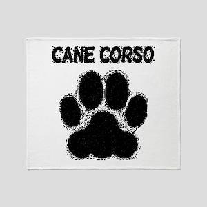 Cane Corso Distressed Paw Print Throw Blanket