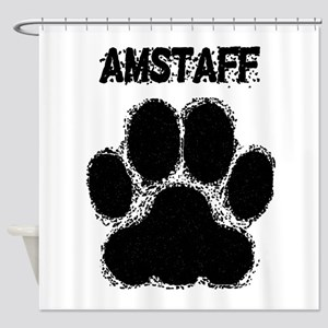 AmStaff Distressed Paw Print Shower Curtain