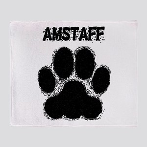 AmStaff Distressed Paw Print Throw Blanket