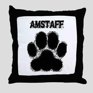 AmStaff Distressed Paw Print Throw Pillow