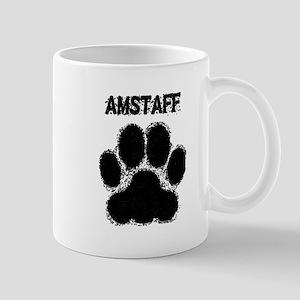 AmStaff Distressed Paw Print Mugs