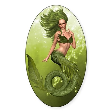 Green Mermaid Sticker (Oval)