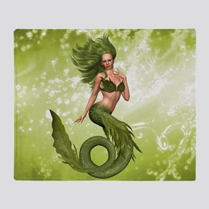Green Mermaid Throw Blanket