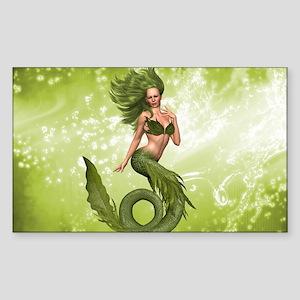 Green Mermaid Sticker (Rectangle)