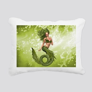 Green Mermaid Rectangular Canvas Pillow