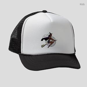 black pin up witch Kids Trucker hat