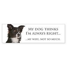 Border Collie v Wife Bumper Sticker