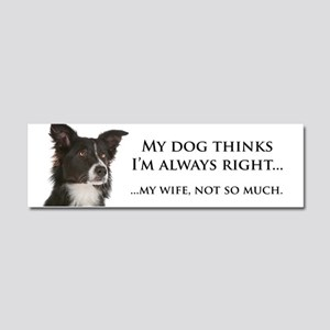 Border Collie v Wife Car Magnet 10 x 3