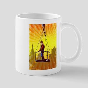 Construction Worker Platform Retro Poster Mugs