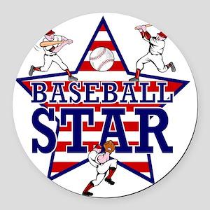 Baseball Star Round Car Magnet