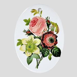 Rosa centifolia, anemone and clemati Oval Ornament