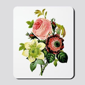 Rosa centifolia, anemone and clematis -  Mousepad