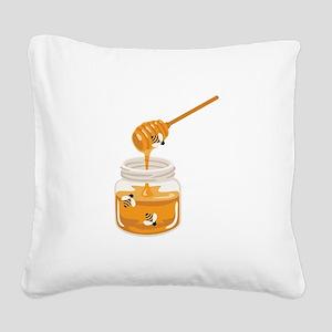 Honey Bees Jar Square Canvas Pillow