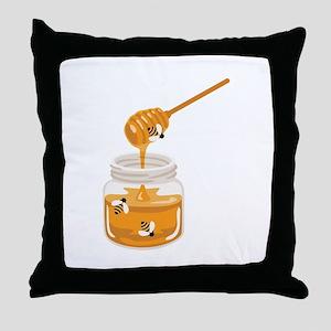 Honey Bees Jar Throw Pillow